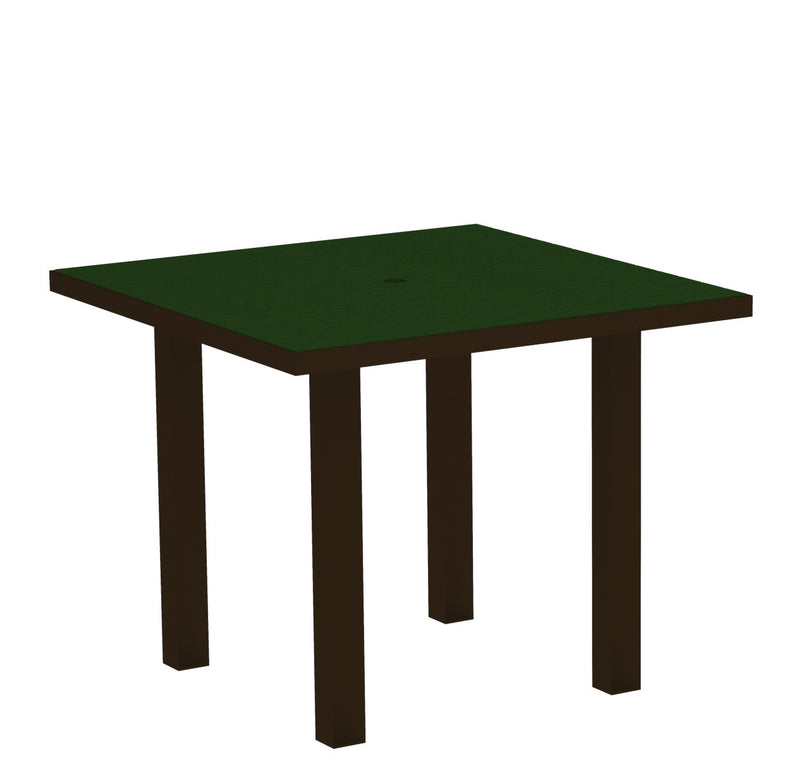 "AT36-16GR Euro 36"" Square Dining Table in Textured Bronze and Green"