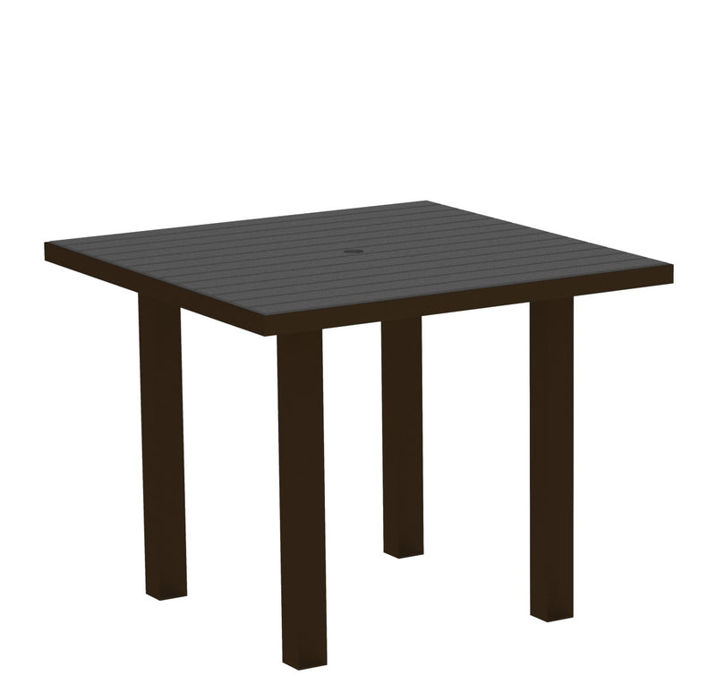 "AT36-16GY Euro 36"" Square Dining Table in Textured Bronze and Slate Grey"