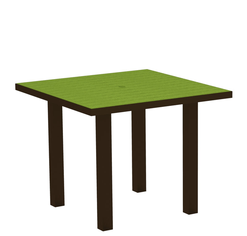 "AT36-16LI Euro 36"" Square Dining Table in Textured Bronze and Lime"