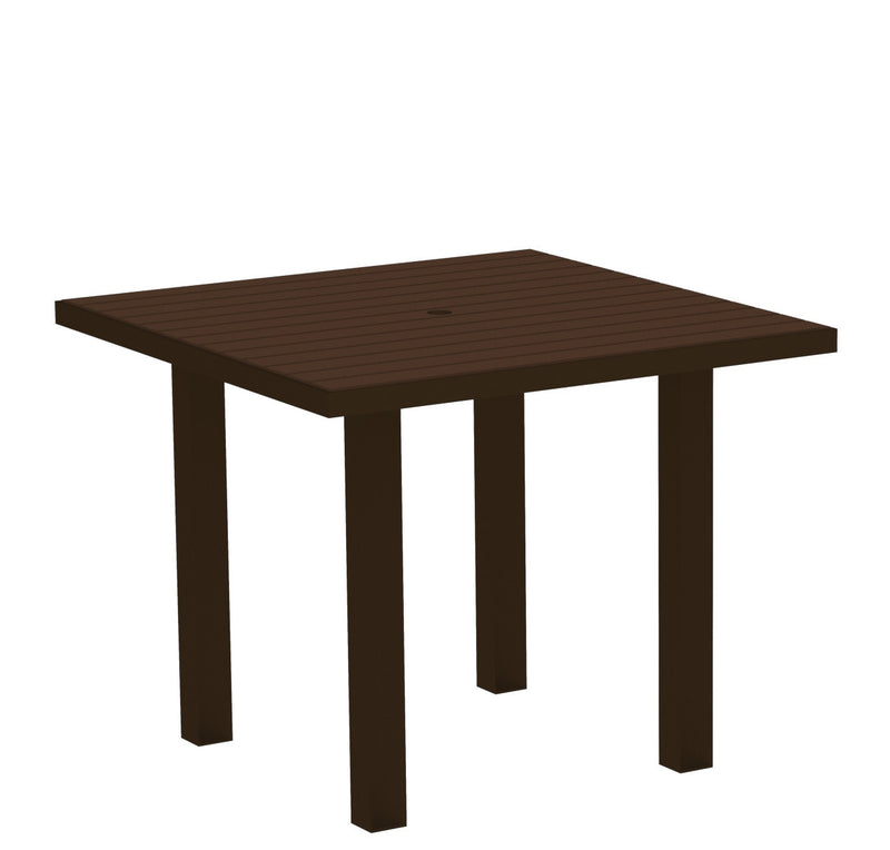 "AT36-16MA Euro 36"" Square Dining Table in Textured Bronze and Mahogany"