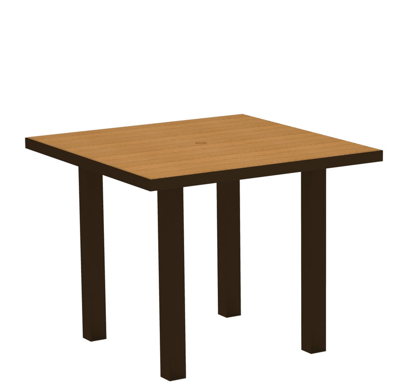 "AT36-16NT Euro 36"" Square Dining Table in Textured Bronze and Plastique Natural Teak"