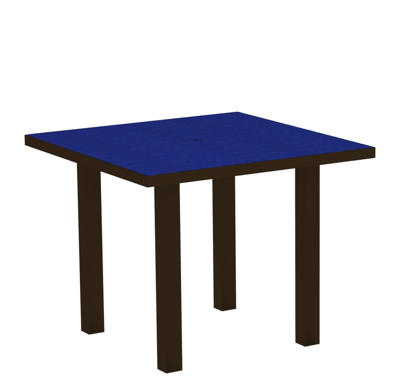 "AT36-16PB Euro 36"" Square Dining Table in Textured Bronze and Pacific Blue"