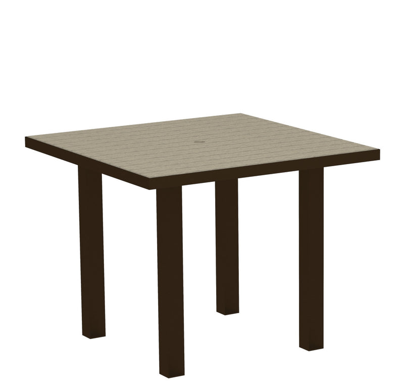 "AT36-16SA Euro 36"" Square Dining Table in Textured Bronze and Sand"