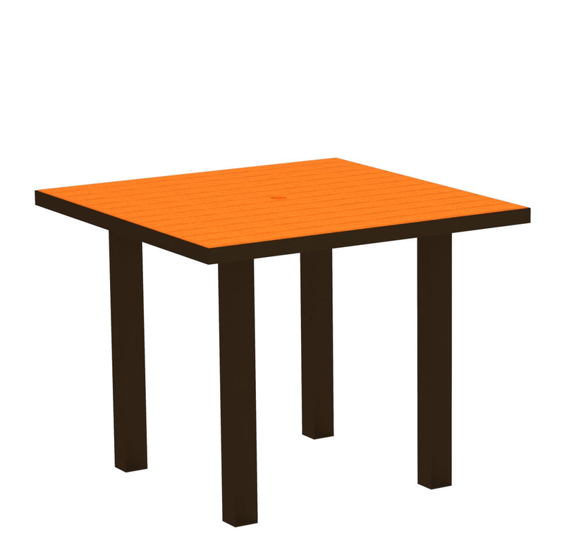 "AT36-16TA Euro 36"" Square Dining Table in Textured Bronze and Tangerine"