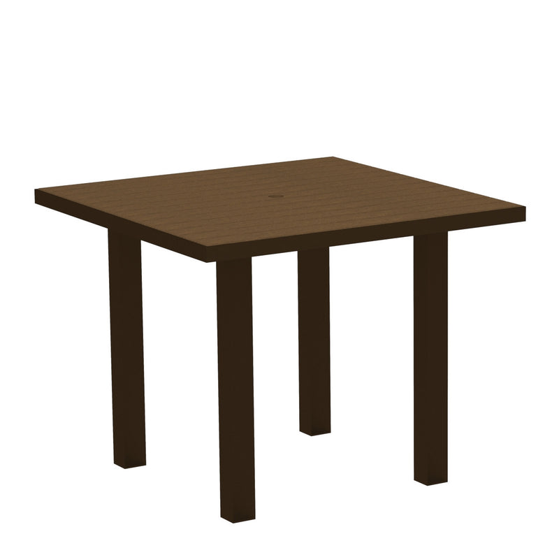 "AT36-16TE Euro 36"" Square Dining Table in Textured Bronze and Teak"