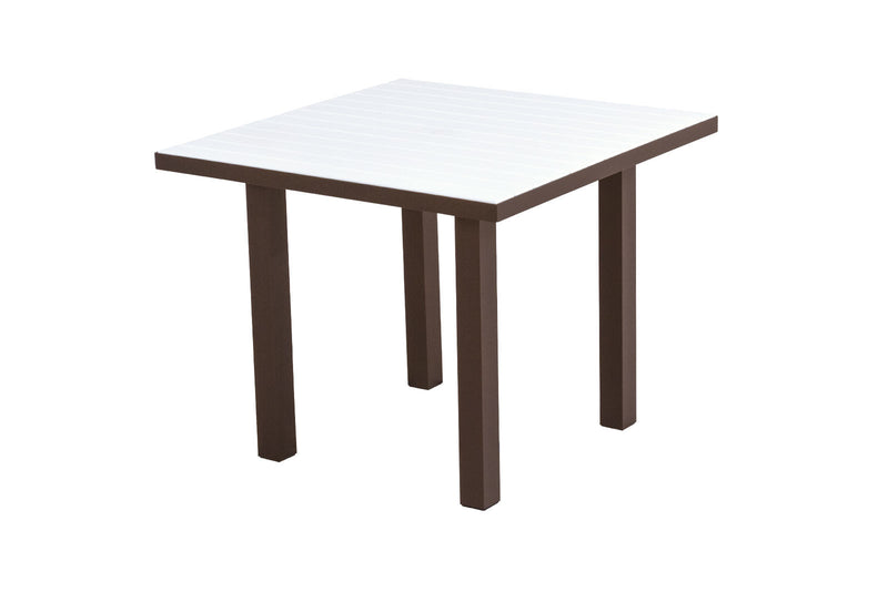 "AT36-16WH Euro 36"" Square Dining Table in Textured Bronze and White"