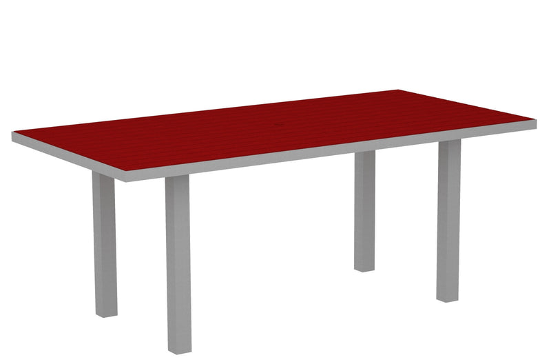 "AT3672FASSR Euro 36""x72"" Dining Table in Textured Silver and Sunset Red"