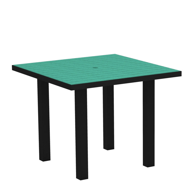 "AT36FABAR Euro 36"" Square Dining Table in Textured Black and Aruba"