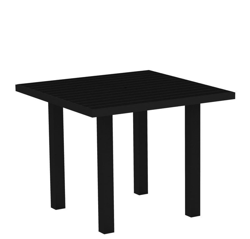 "AT36FABBL Euro 36"" Square Dining Table in Textured Black and Black"