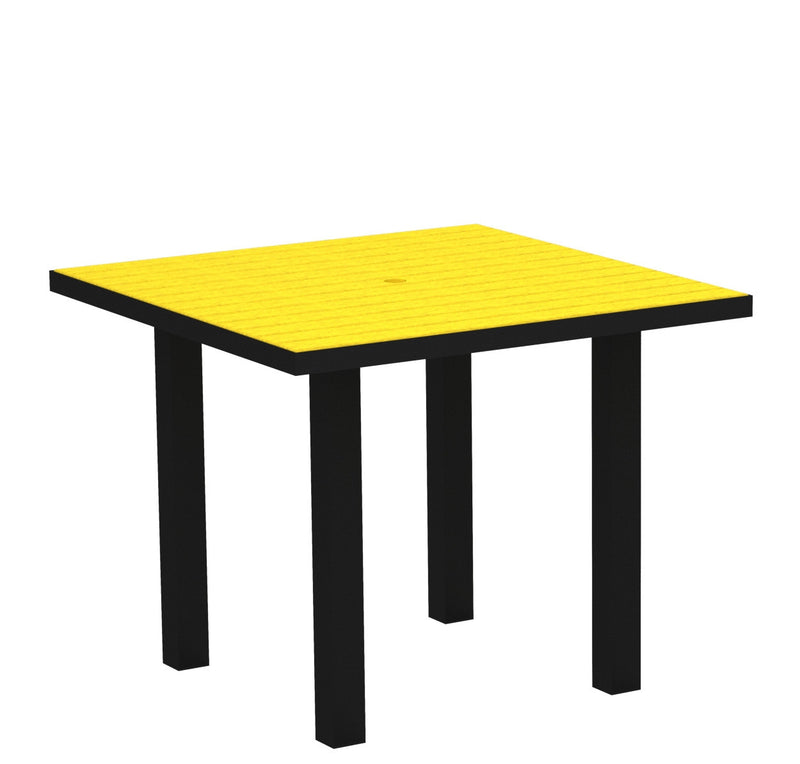 "AT36FABLE Euro 36"" Square Dining Table in Textured Black and Lemon"