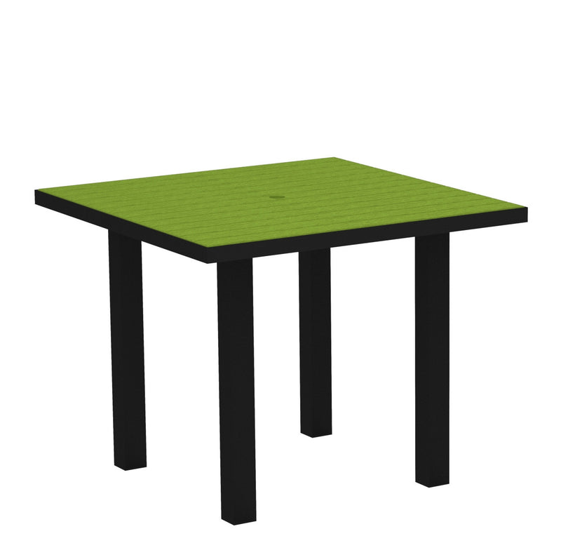 "AT36FABLI Euro 36"" Square Dining Table in Textured Black and Lime"