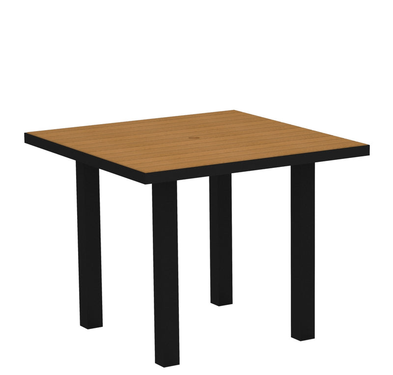 "AT36FABNT Euro 36"" Square Dining Table in Textured Black and Plastique Natural Teak"