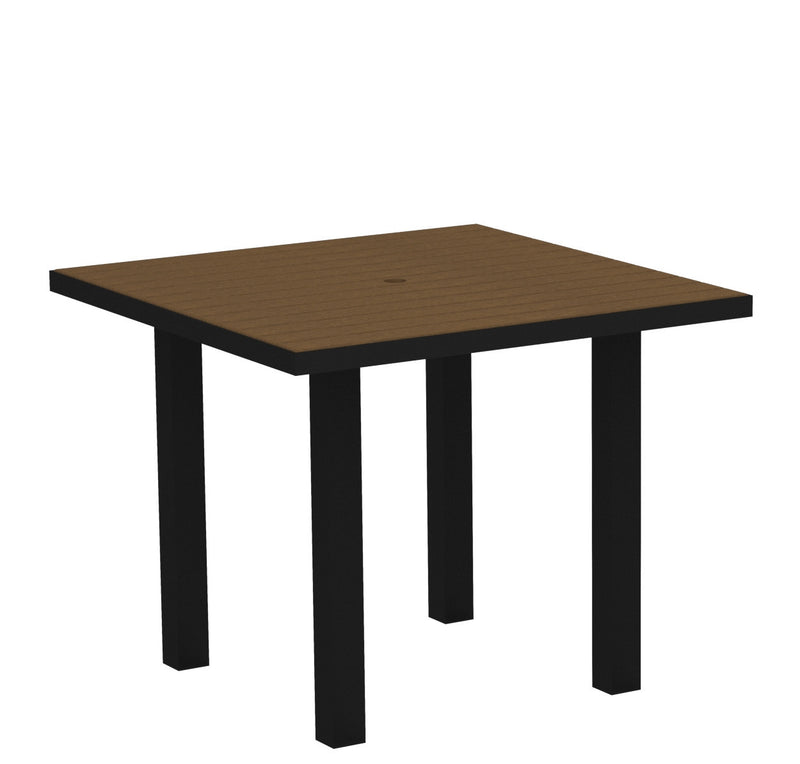 "AT36FABTE Euro 36"" Square Dining Table in Textured Black and Teak"