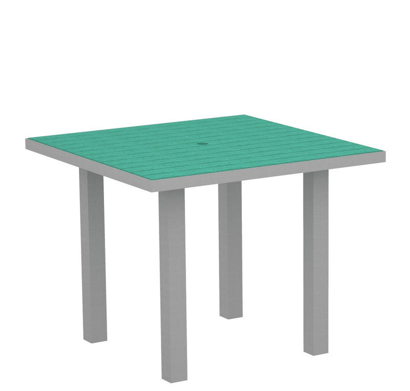 "AT36FASAR Euro 36"" Square Dining Table in Textured Silver and Aruba"