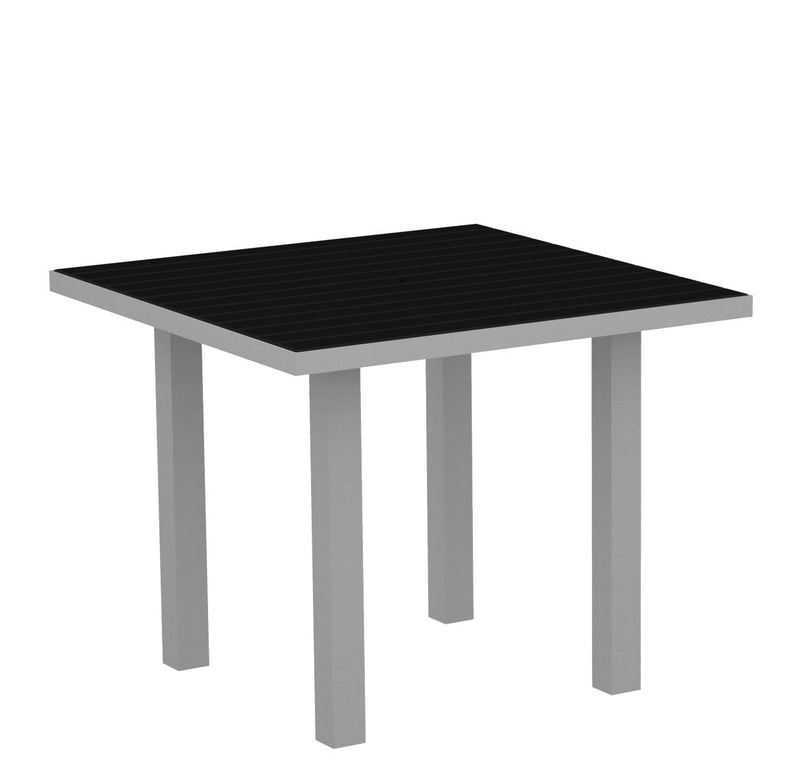 "AT36FASBL Euro 36"" Square Dining Table in Textured Silver and Black"