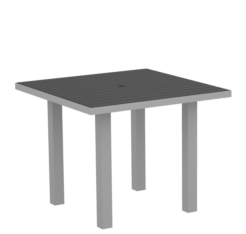 "AT36FASGY Euro 36"" Square Dining Table in Textured Silver and Slate Grey"