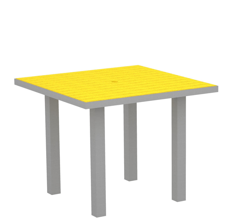 "AT36FASLE Euro 36"" Square Dining Table in Textured Silver and Lemon"