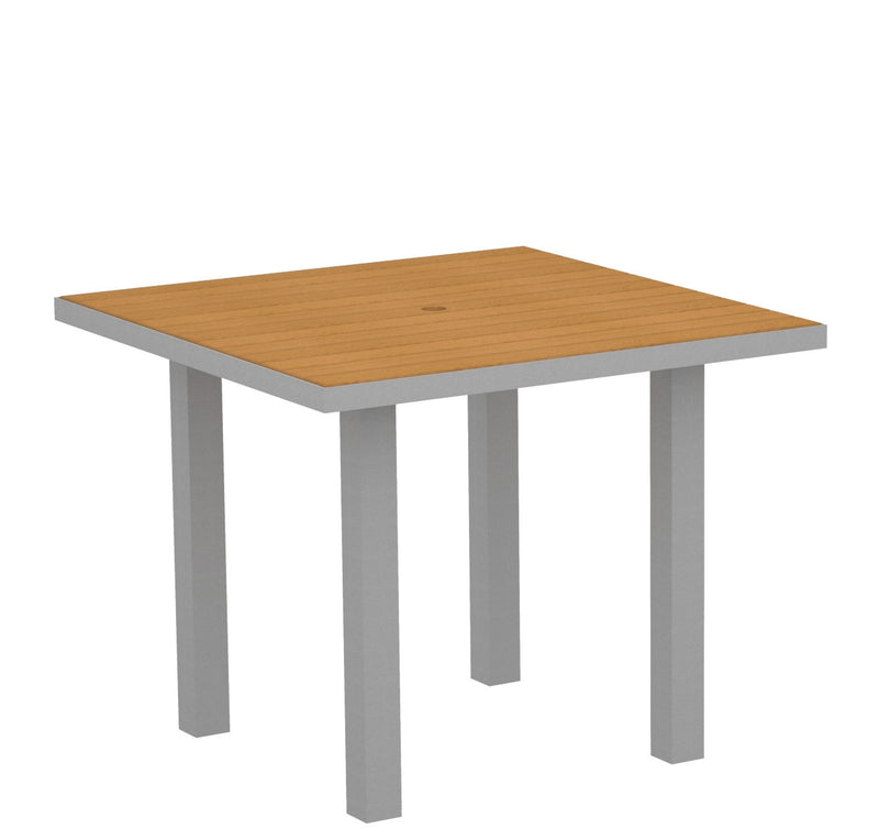 "AT36FASNT Euro 36"" Square Dining Table in Textured Silver and Plastique Natural Teak"
