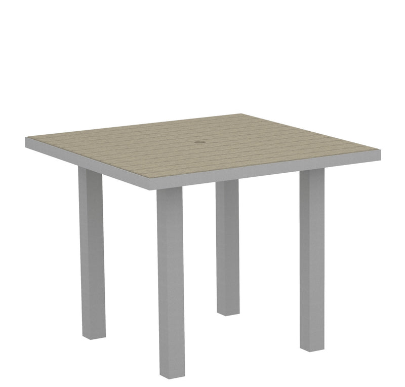 "AT36FASSA Euro 36"" Square Dining Table in Textured Silver and Sand"