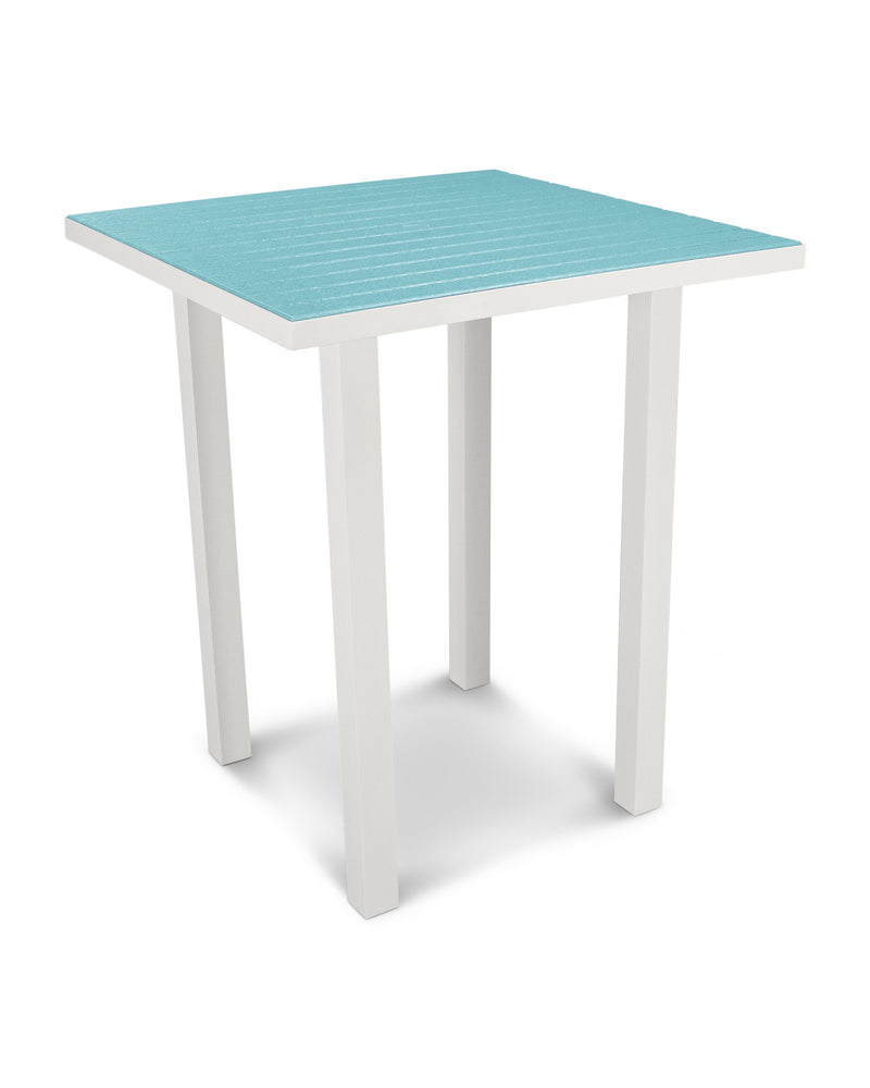 "ATB36-13AR Euro 36"" Square Bar Table in Satin White and Aruba"