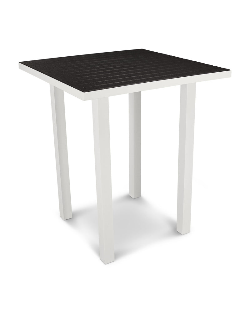 "ATB36-13BL Euro 36"" Square Bar Table in Satin White and Black"