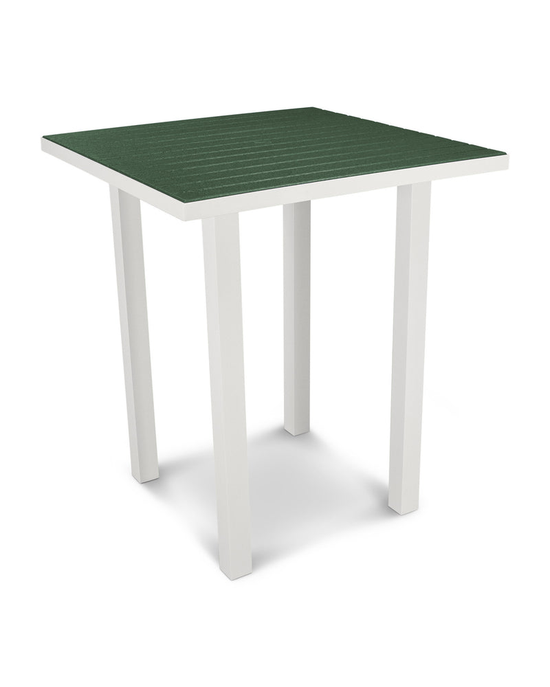 "ATB36-13GR Euro 36"" Square Bar Table in Satin White and Green"