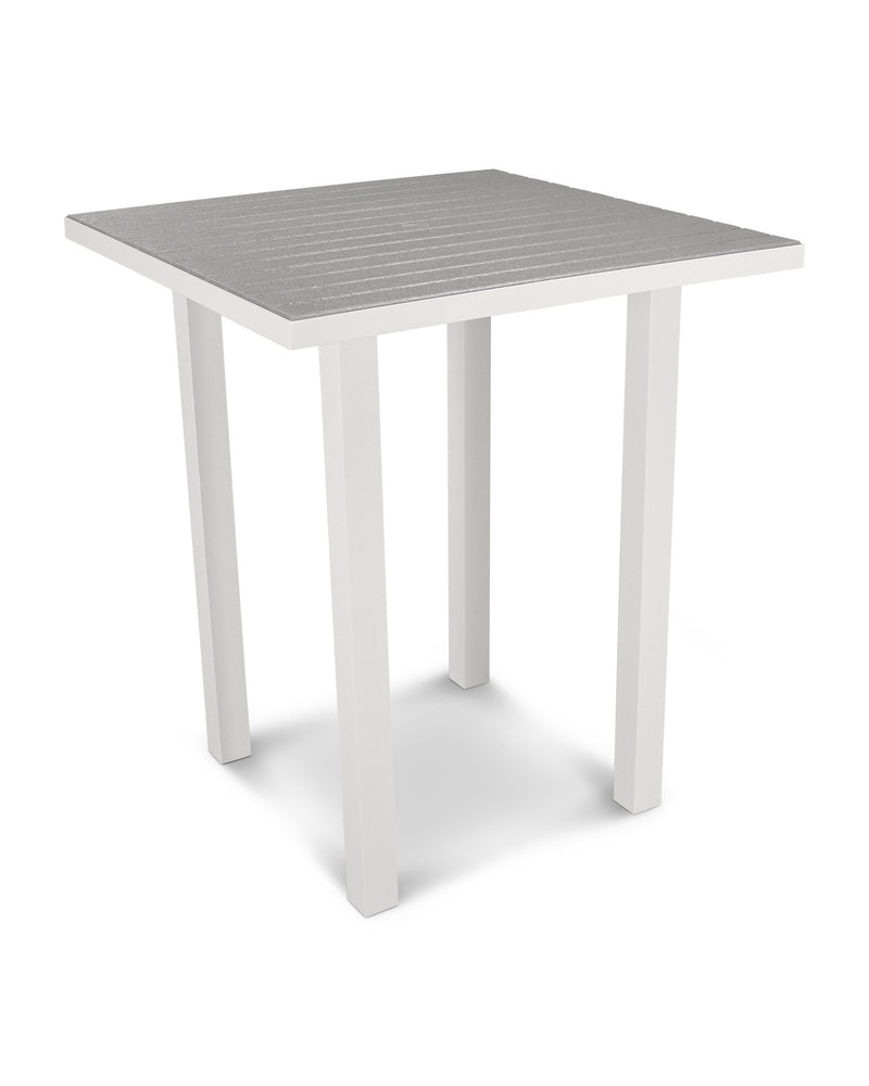 "ATB36-13GY Euro 36"" Square Bar Table in Satin White and Slate Grey"