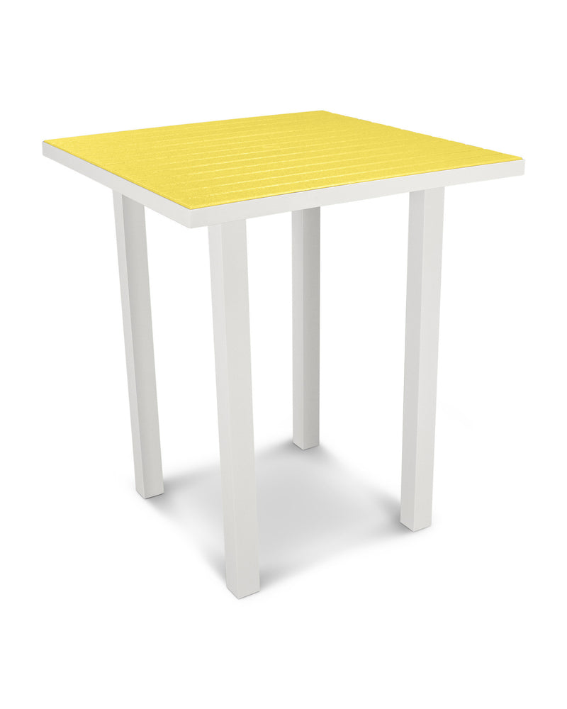 "ATB36-13LE Euro 36"" Square Bar Table in Satin White and Lemon"