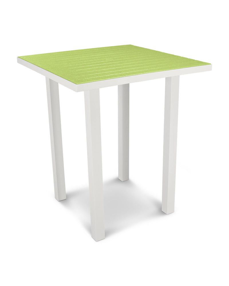 "ATB36-13LI Euro 36"" Square Bar Table in Satin White and Lime"