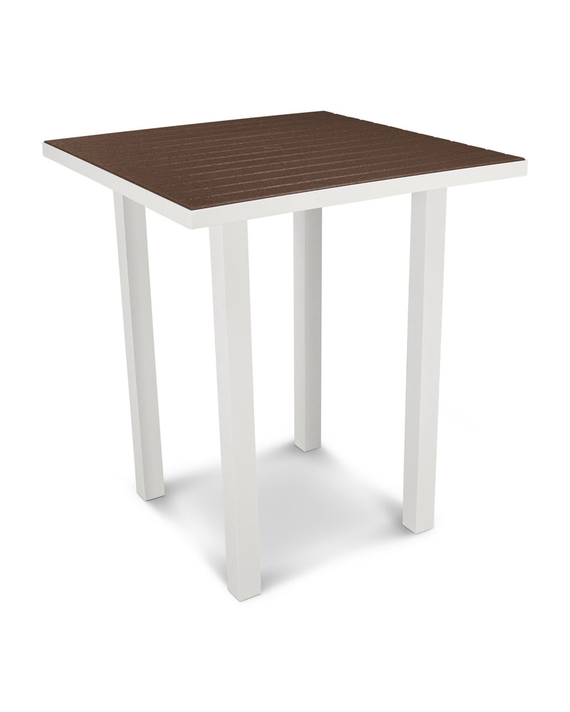 "ATB36-13MA Euro 36"" Square Bar Table in Satin White and Mahogany"