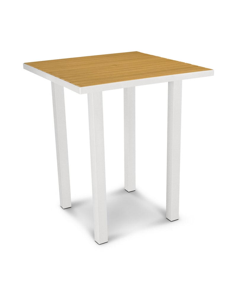 "ATB36-13NT Euro 36"" Square Bar Table in Satin White and Plastique Natural Teak"