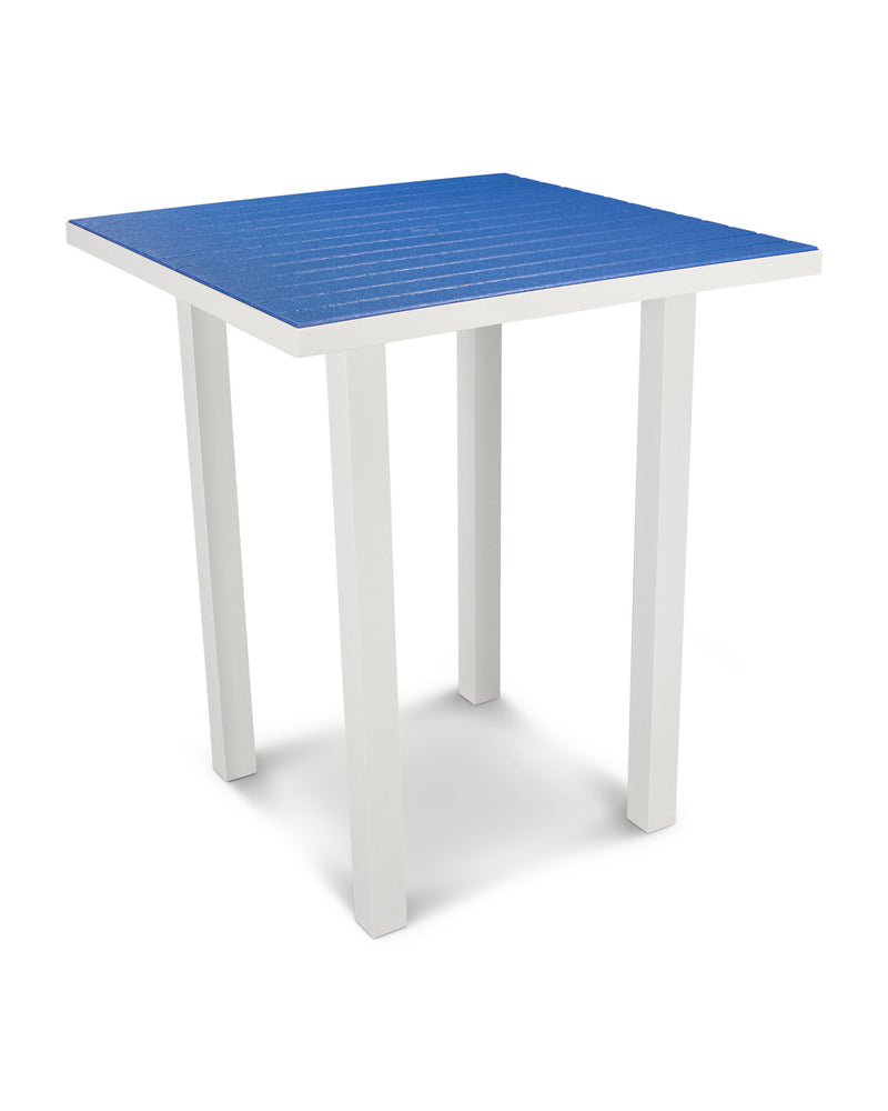 "ATB36-13PB Euro 36"" Square Bar Table in Satin White and Pacific Blue"