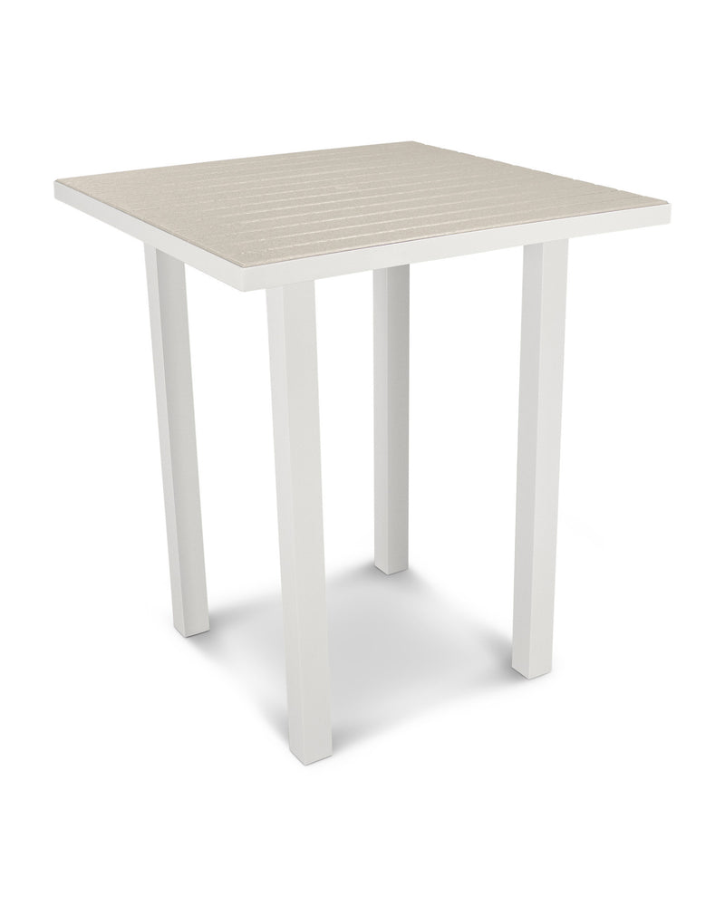 "ATB36-13SA Euro 36"" Square Bar Table in Satin White and Sand"