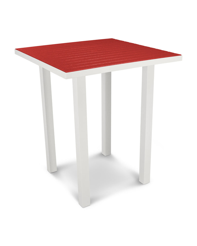 "ATB36-13SR Euro 36"" Square Bar Table in Satin White and Sunset Red"
