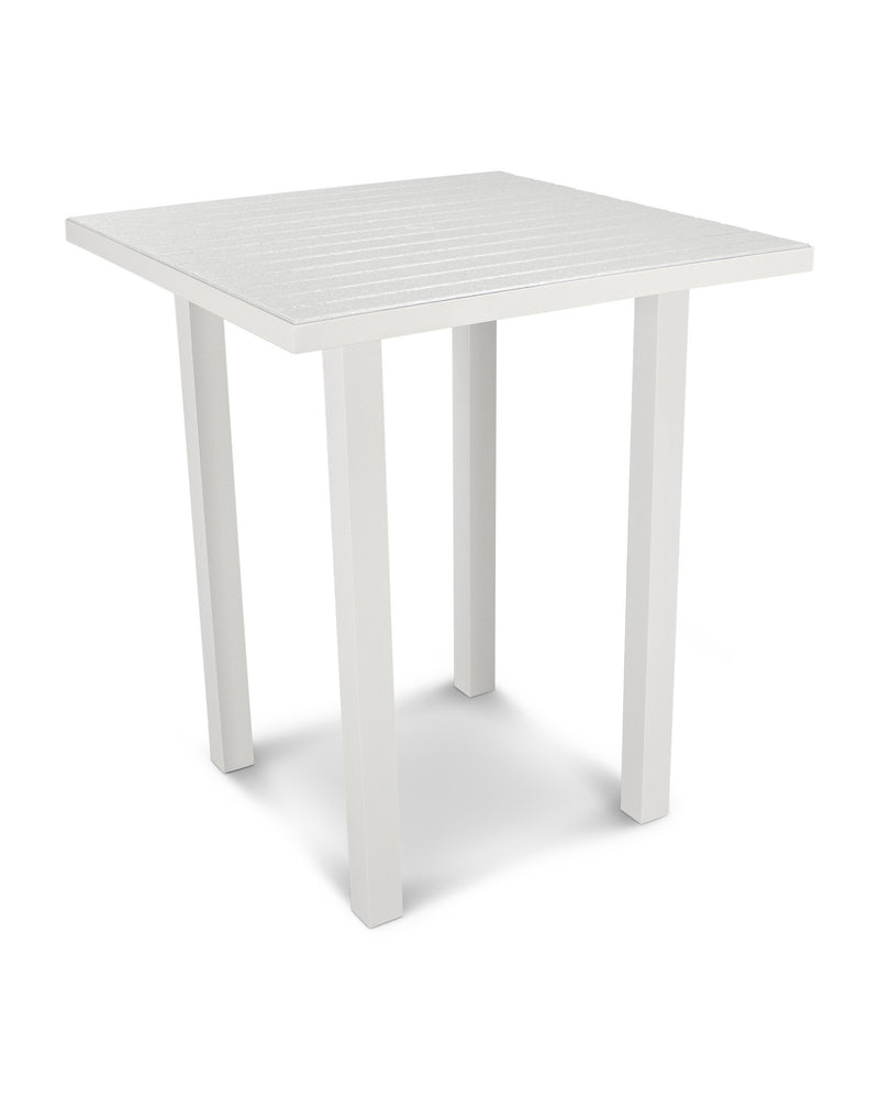 "ATB36-13WH Euro 36"" Square Bar Table in Satin White and White"
