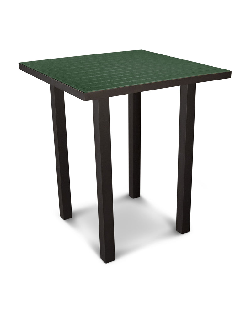 "ATB36-16GR Euro 36"" Square Bar Table in Textured Bronze and Green"