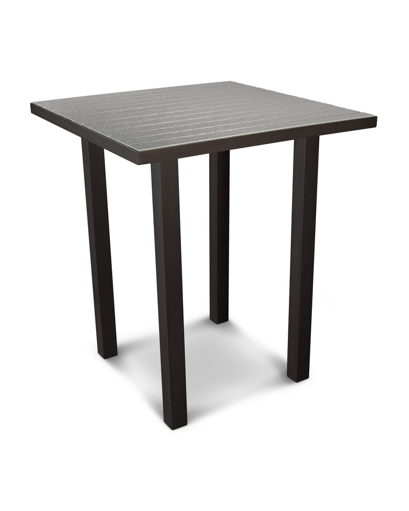 "ATB36-16GY Euro 36"" Square Bar Table in Textured Bronze and Slate Grey"