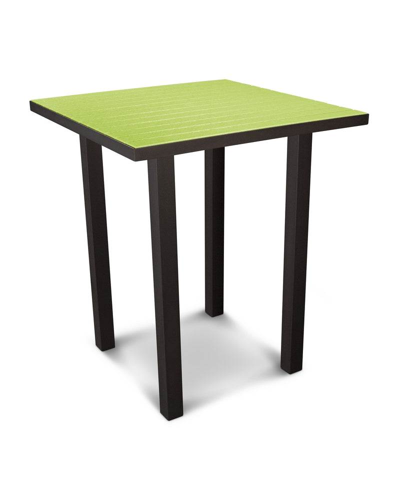 "ATB36-16LI Euro 36"" Square Bar Table in Textured Bronze and Lime"