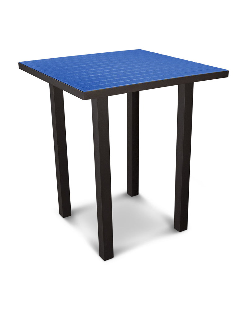 "ATB36-16PB Euro 36"" Square Bar Table in Textured Bronze and Pacific Blue"