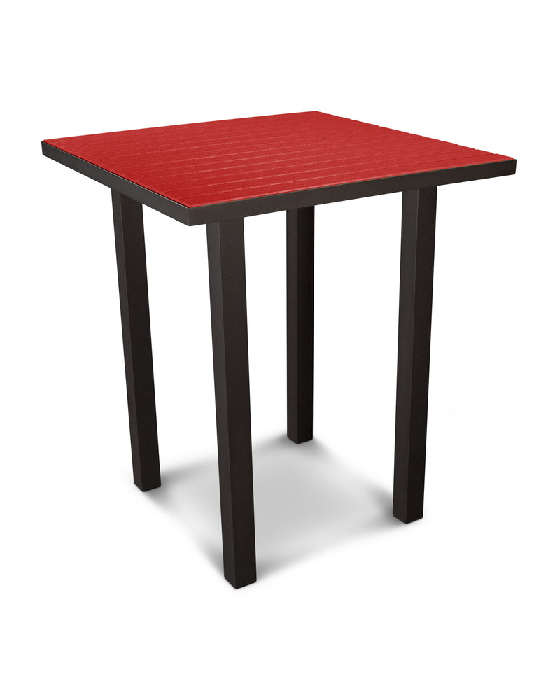 "ATB36-16SR Euro 36"" Square Bar Table in Textured Bronze and Sunset Red"