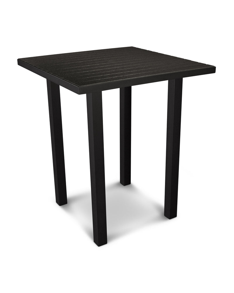 "ATB36FABBL Euro 36"" Square Bar Table in Textured Black and Black"
