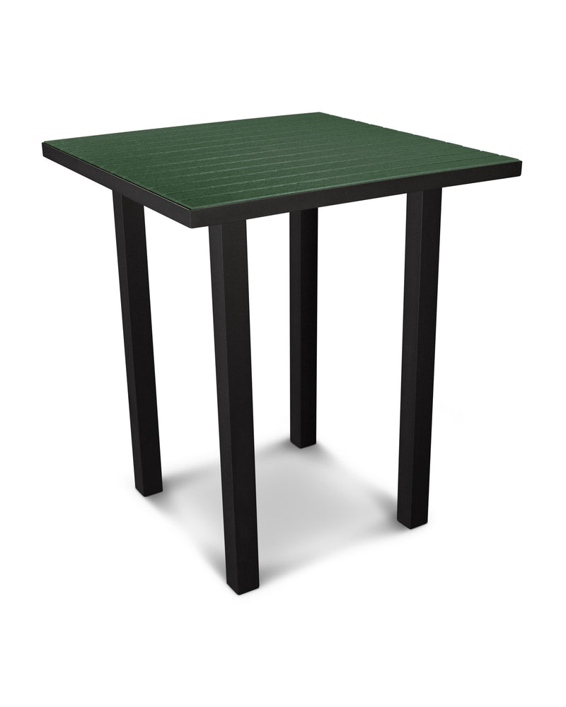 "ATB36FABGR Euro 36"" Square Bar Table in Textured Black and Green"