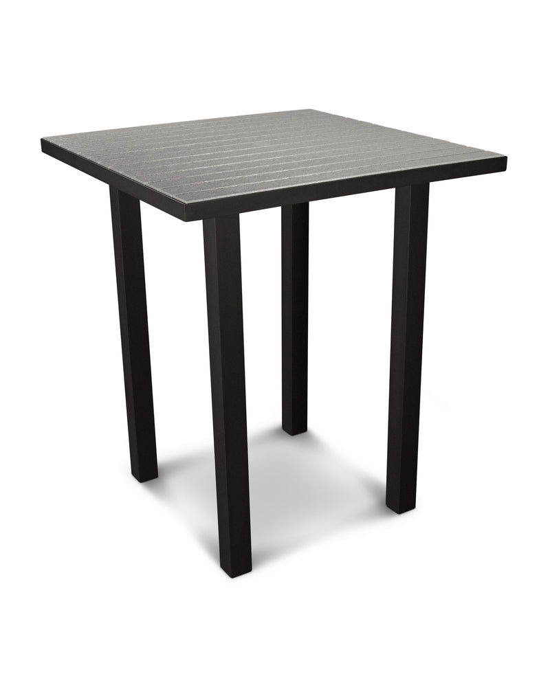 "ATB36FABGY Euro 36"" Square Bar Table in Textured Black and Slate Grey"