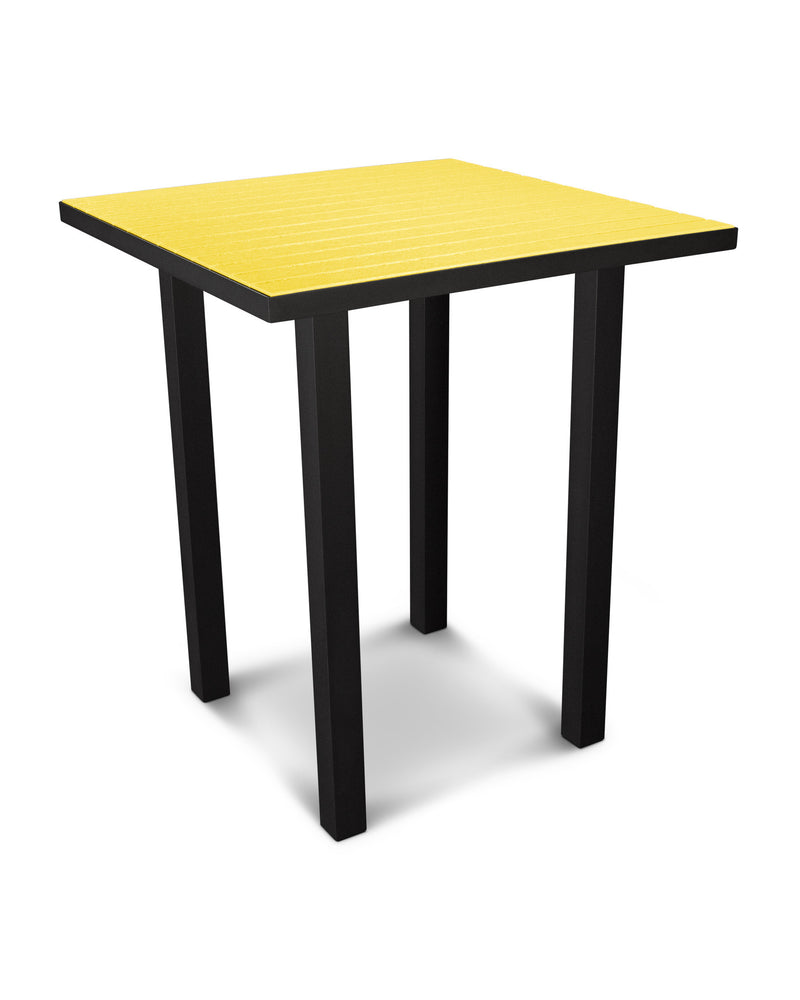 "ATB36FABLE Euro 36"" Square Bar Table in Textured Black and Lemon"
