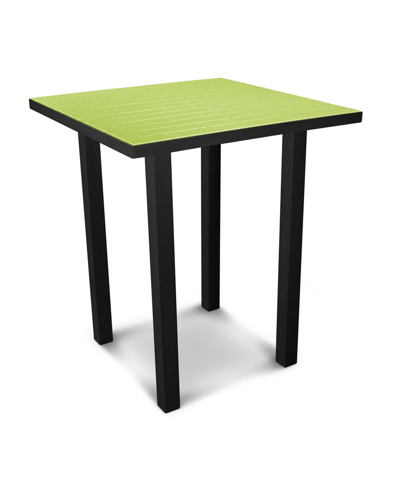 "ATB36FABLI Euro 36"" Square Bar Table in Textured Black and Lime"