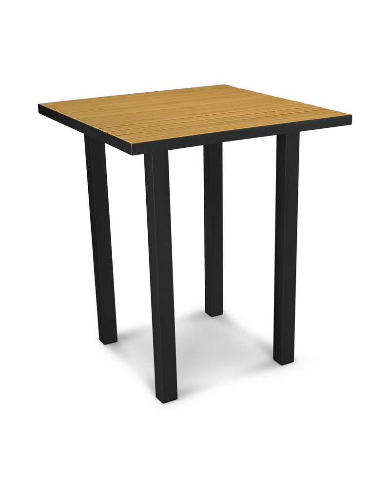 "ATB36FABNT Euro 36"" Square Bar Table in Textured Black and Plastique Natural Teak"