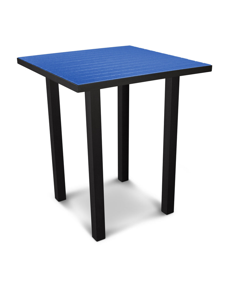 "ATB36FABPB Euro 36"" Square Bar Table in Textured Black and Pacific Blue"