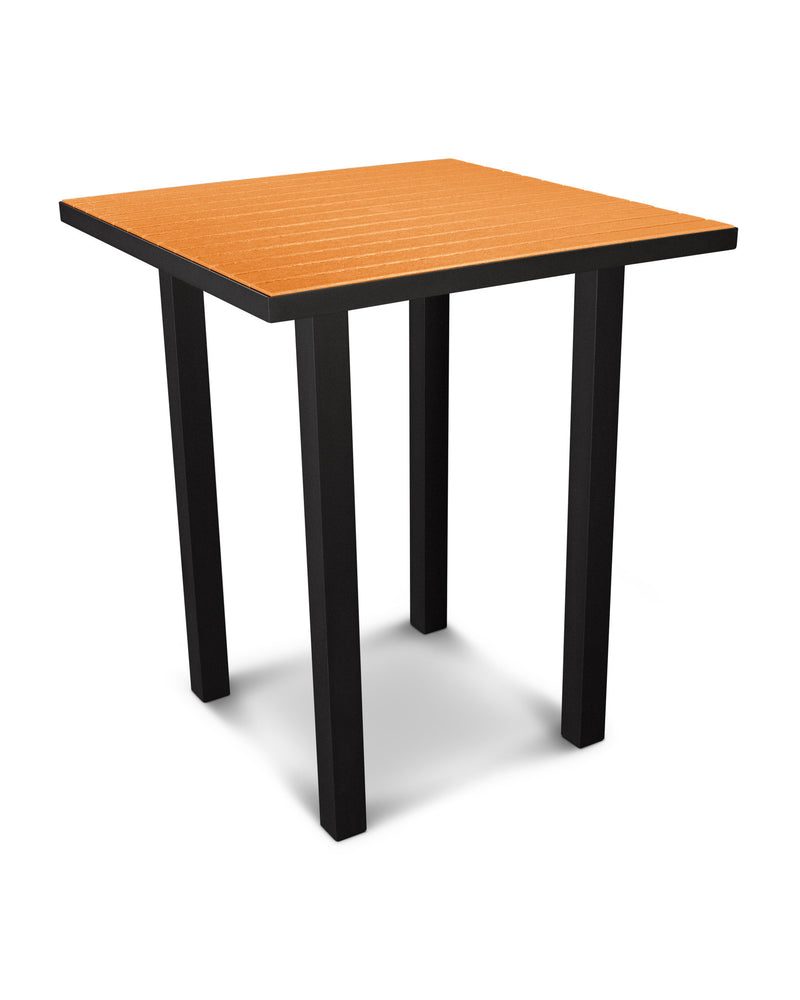 "ATB36FABTA Euro 36"" Square Bar Table in Textured Black and Tangerine"