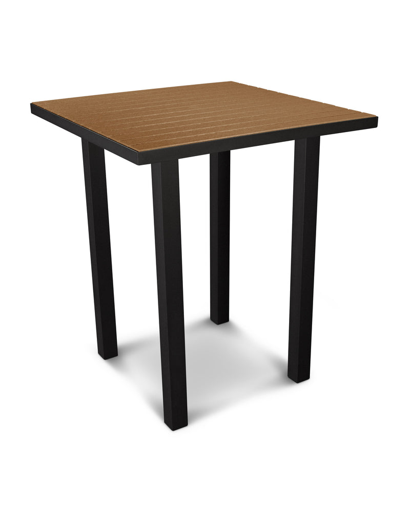 "ATB36FABTE Euro 36"" Square Bar Table in Textured Black and Teak"