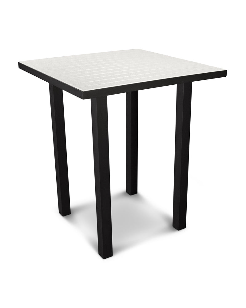 "ATB36FABWH Euro 36"" Square Bar Table in Textured Black and White"